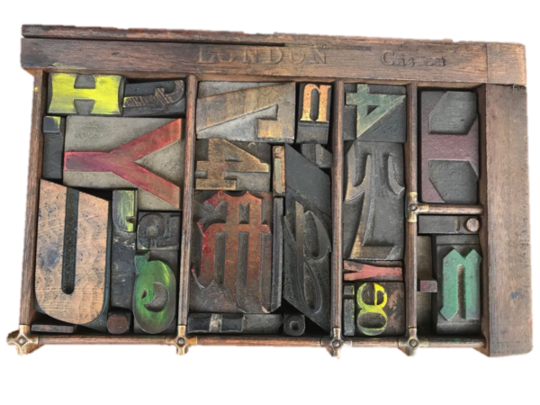 Type Case 8 Filled with Wood Letter