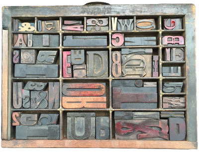 Type Case 3 Filled with Wood Letter